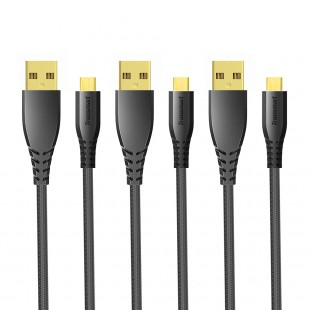 Tronsmart MUC02 Premium USB Cables 3 Pack with Gold-Plated Connectors