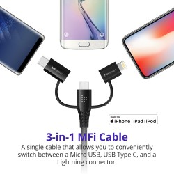 Tronsmart LAC10 Apple MFi 4ft/1.2m 3 in 1 Cable