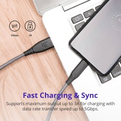 Tronsmart TAC01 USB Type-C to USB-A 3.0 Braided Nylon Charging & Syncing Cable (3ft/1m)