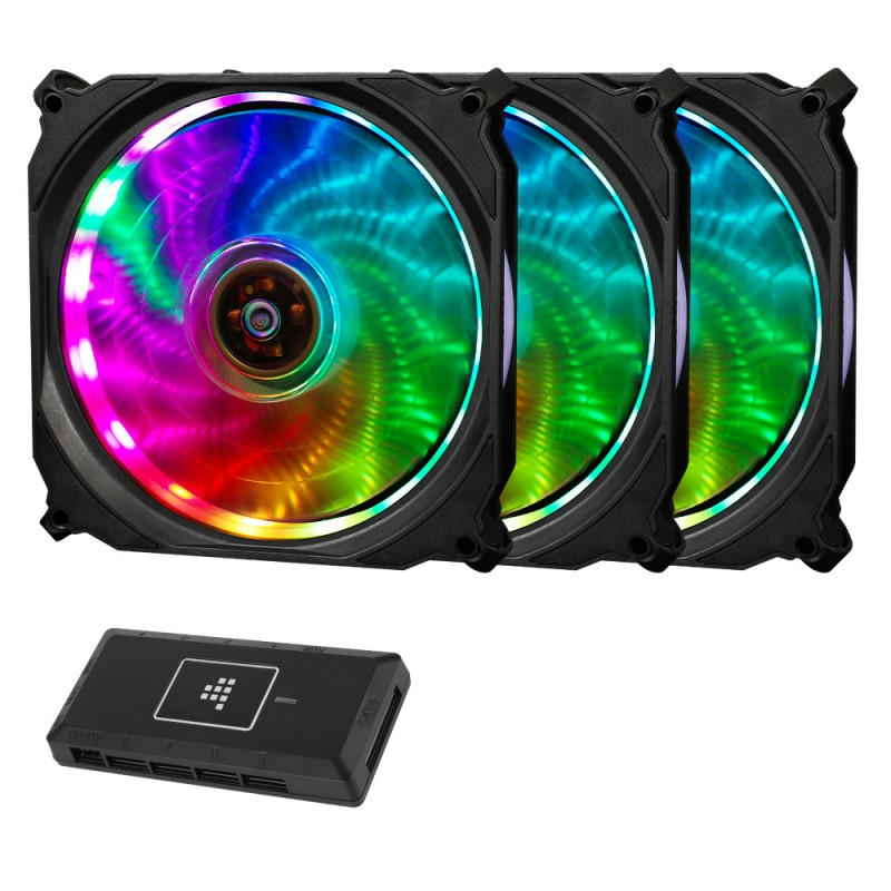 Tronsmart TF12 RGB LED PWM 120mm Fan - 3 Pack with Controller
