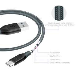 Tronsmart ATC7 Braided Nylon USB-C to USB-A Charging & Syncing Cable