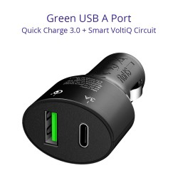 Tronsmart C2PTU Quick Charge 3.0 & Type-C Dual Ports Car Charger