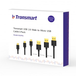 Tronsmart MUPP6 Premium USB Cables 5 Pack Black (1ft*1+3.3ft*3+6ft*1 ) with Gold Connector