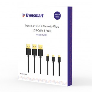 Tronsmart MUPP2 Premium USB Cables 3 Pack (6ft*3 ) with Gold Connector