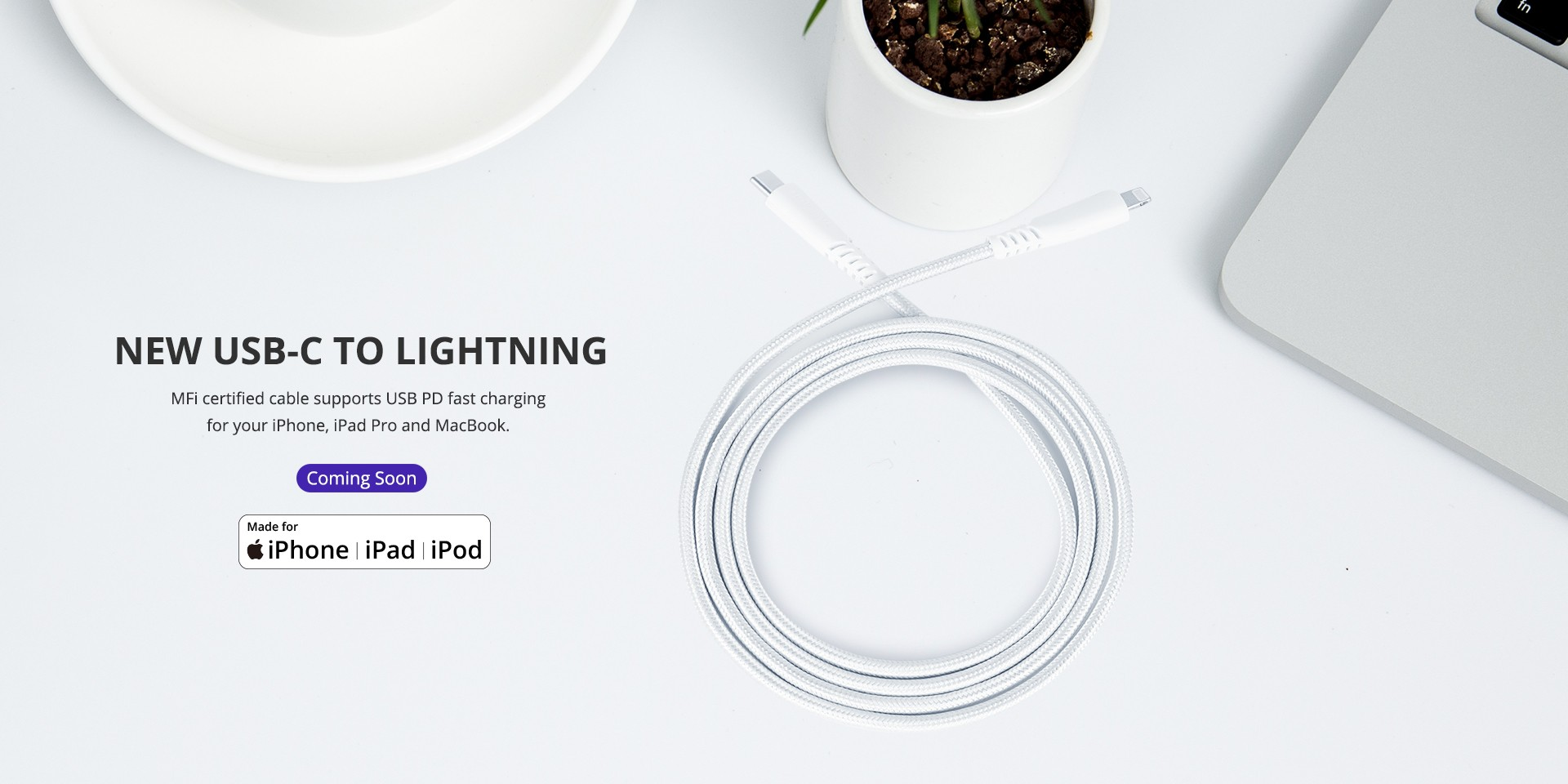 LCC06 4FT MFi certified USB-C to Lightning Cable for all iOS devices.